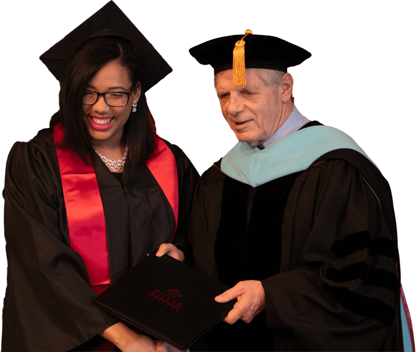 Dr. Schroeder giving diploma to a new Pillar College gratudate.